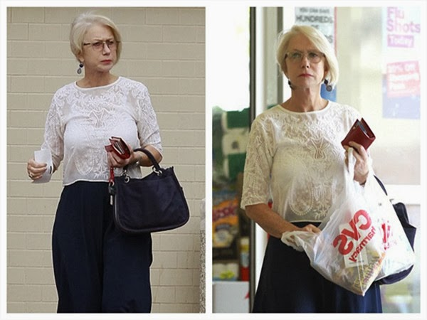 Helen Mirren Puts on Transition Glasses Outside
