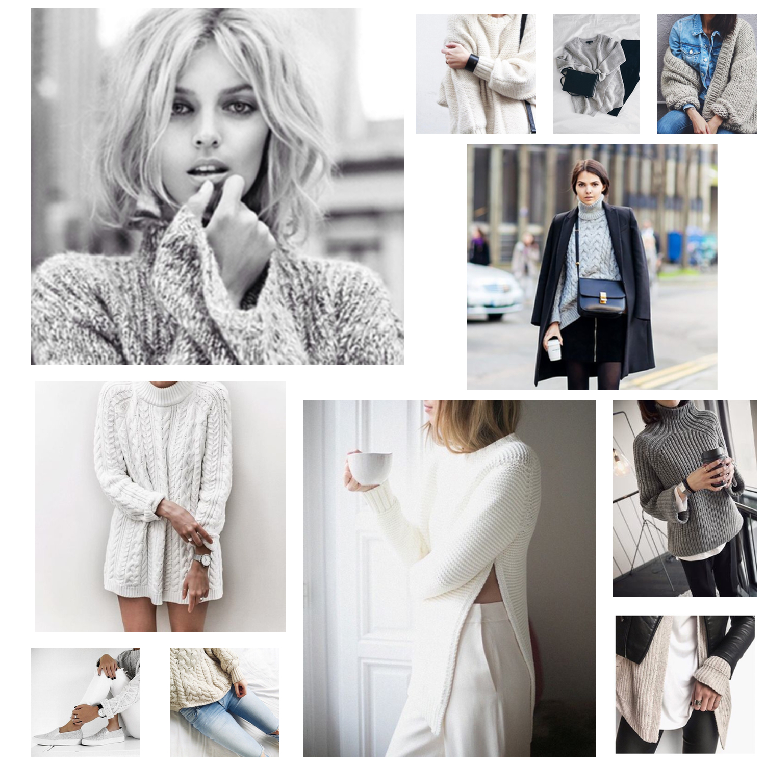 a collage of cable knit sweaters put together by a fashion blogger