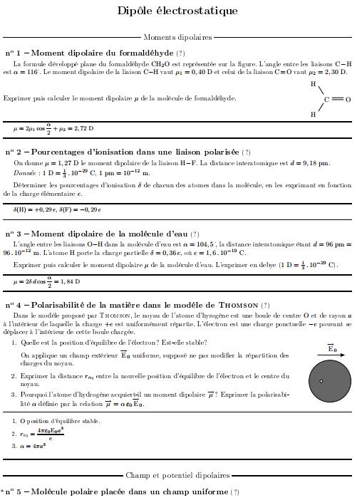 Exercices Corrigés Dipôle électrostatique