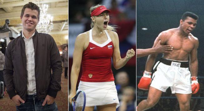 3 grands champions dans des sports de duels. Les échecs avec Magnus Carlsen, le tennis pour Maria Sharapova, et la boxe pour Mohammed Ali.