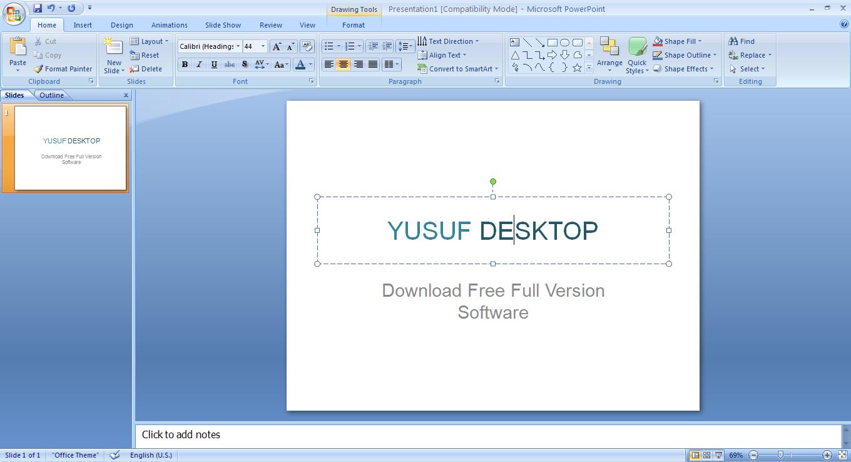 Screenshot Microsoft Powerpoint