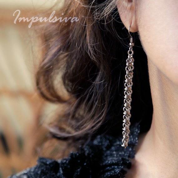 Silver chain dangle earrings, handmade hook earrings, long earrings,