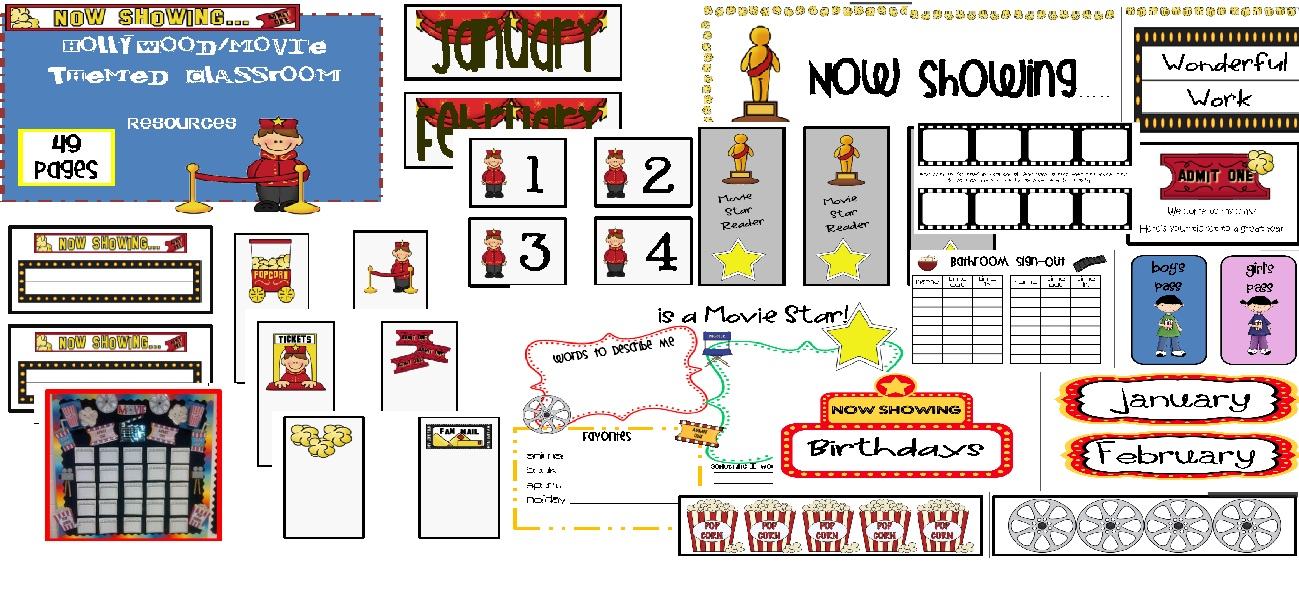 Hollywood movie classroom theme printable file folder games other