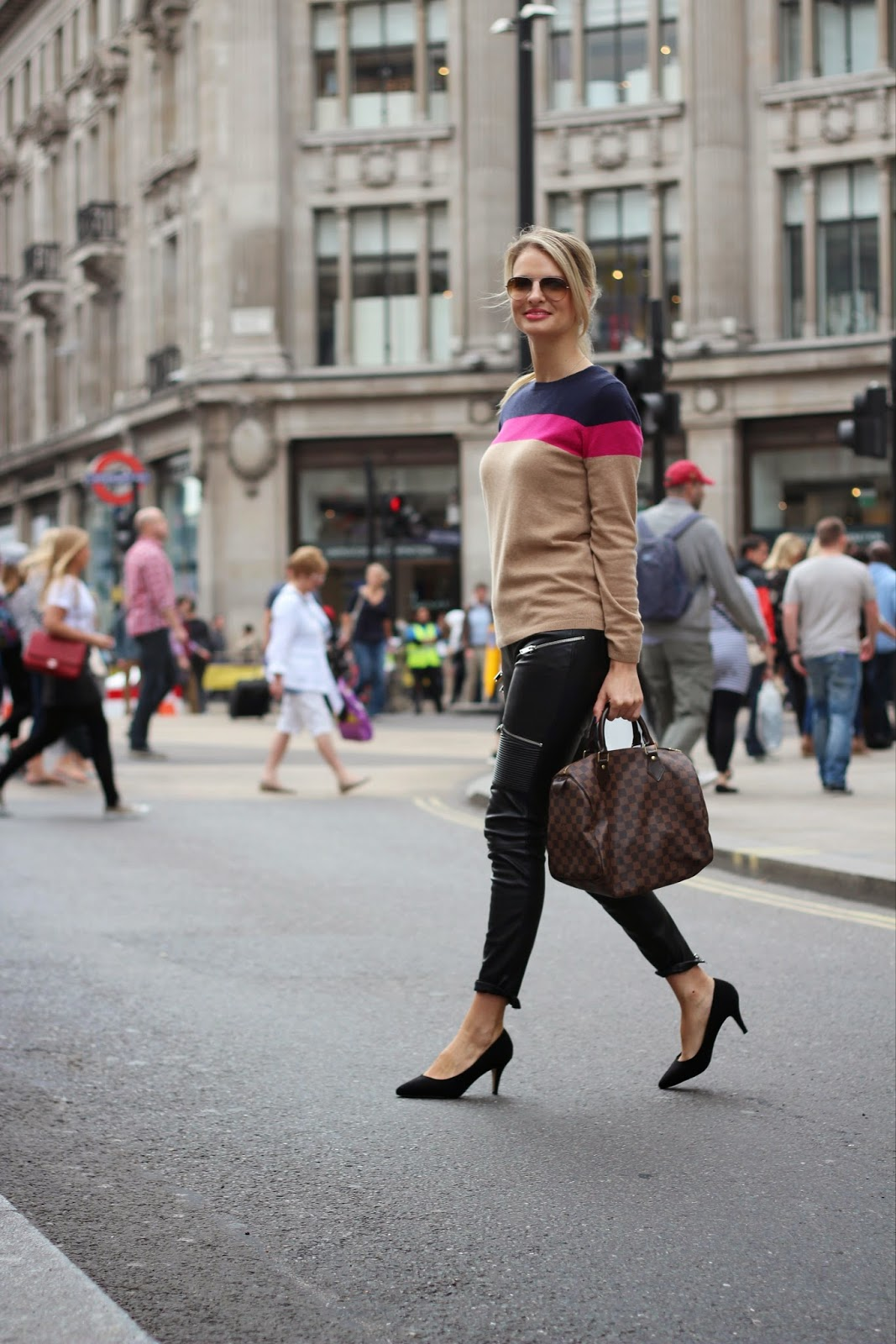 oxford street, oxford circus, street style, london street style, london blogger, biker pants, biker leather pants, zara biker pants, louis vuitton bag, louis vuitton speedy bag, cashmere jumper, boden, boden jumper, boden cashmere jumper, kurt geiger heels,chrissabella,  black heels, daniel wellington watch, blonde blogger