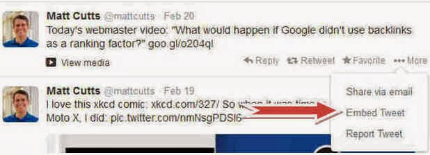 """Step - 2 : Select Twitter Post >> Click """"Embed Tweet"""" Link"""