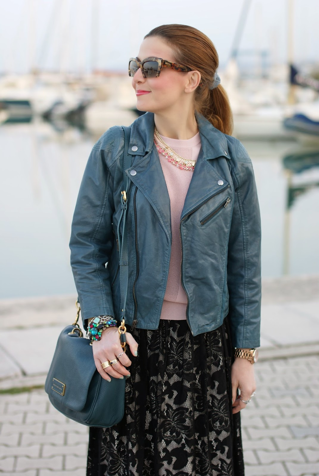 Black lace skirt, Miu Miu razor sunglasses, Barneys originals leather jacket, Fashion and Cookies, fashion blogger