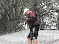 non pressure roof cleaning worker