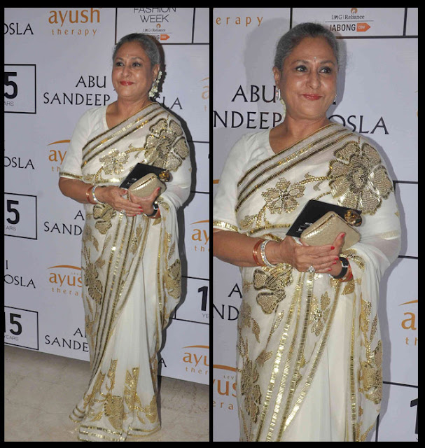 Jaya Bachchan Attended Abu Jani Sandeep Khosla Show at LFW 2015 W/F in White Saree