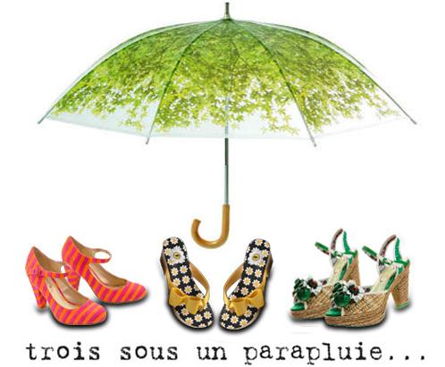 3 sous un parapluie