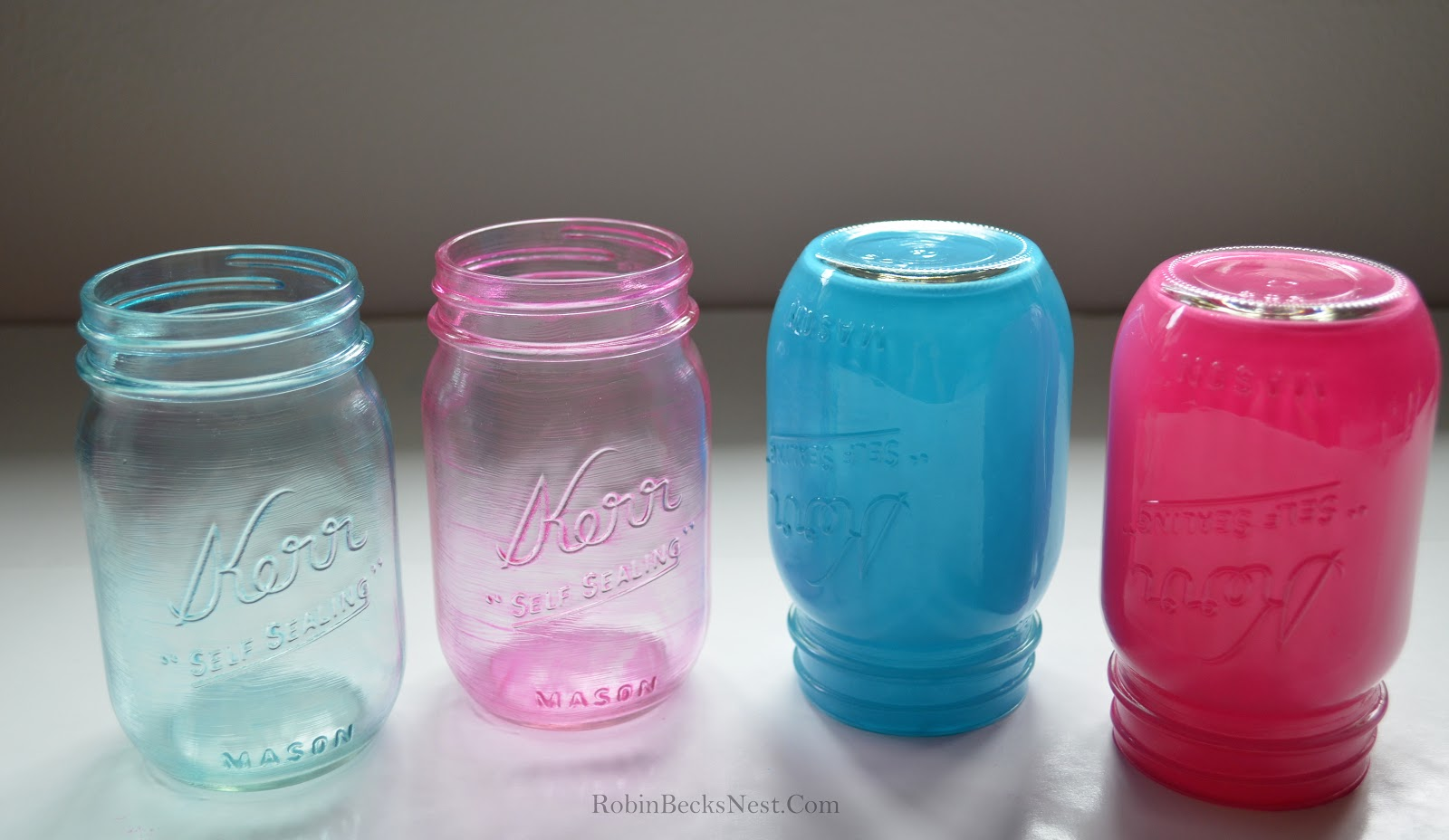 The Robin 39 S Nest Tinted Mason Jars With Glass Paint