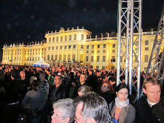 Scene at the Schnöbrunn Palace at an evening concert by the Vienna philharmonic orchestraNight