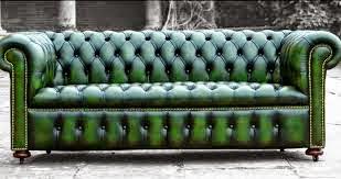 Para un espacio de decoración industrial soca capitone verde oscuro