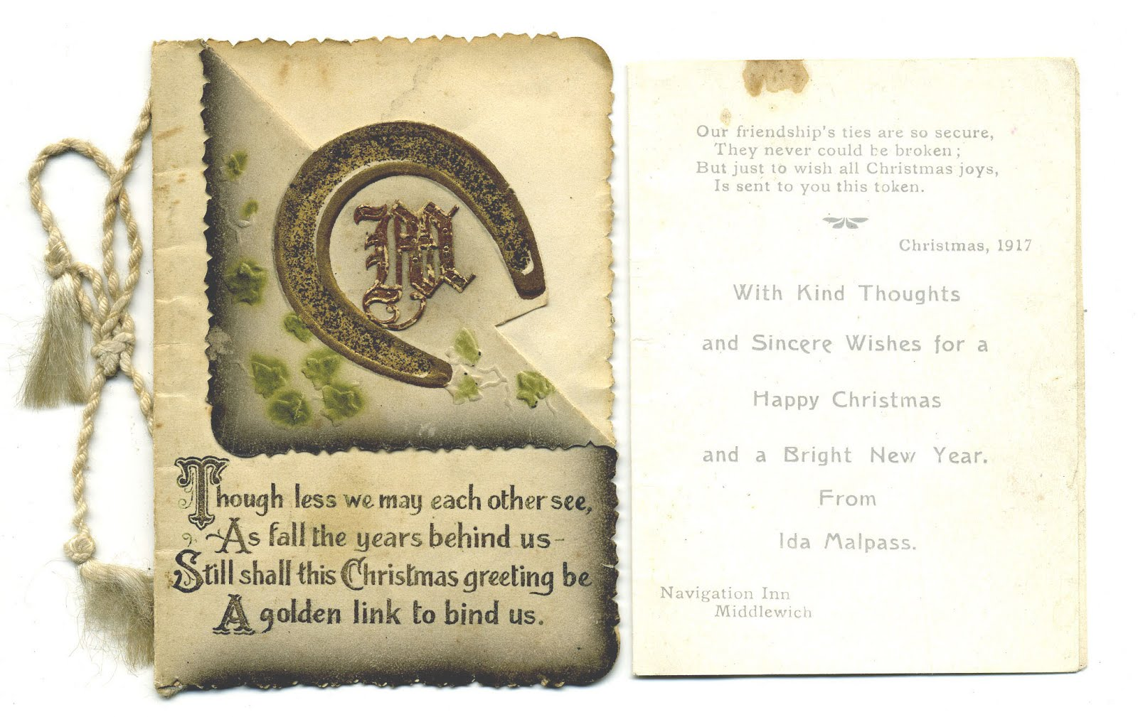 CHRISTMAS GREETINGS FROM THE NAVIGATION INN 1917