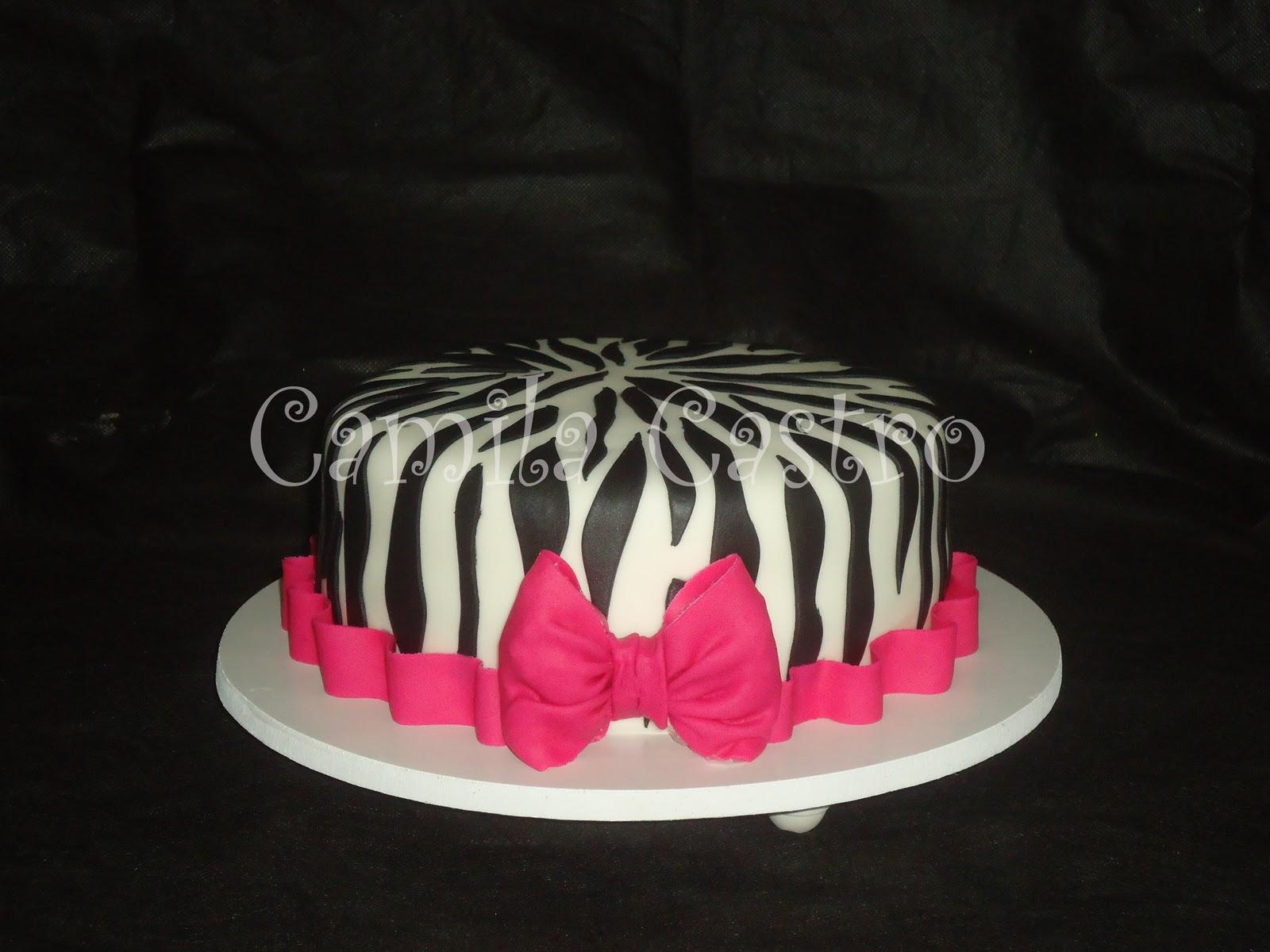 Suficiente Camila Castro Bolos Decorados: Bolo da Zebra com laço rosa XH09
