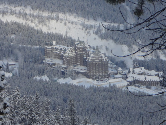 fairmont banff springs hotel from sulphur mountain trail