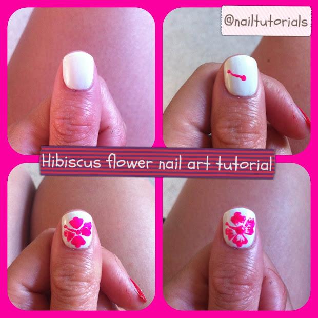 nail tutorials hibiscus flower