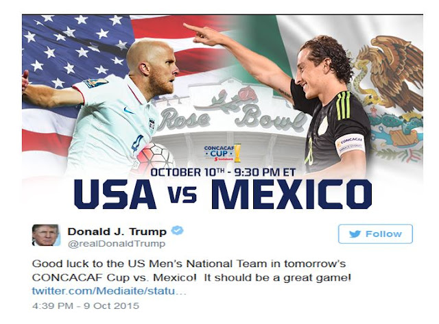 Donald Trump Gives Twitter good wishes to US Soccer against Mexico