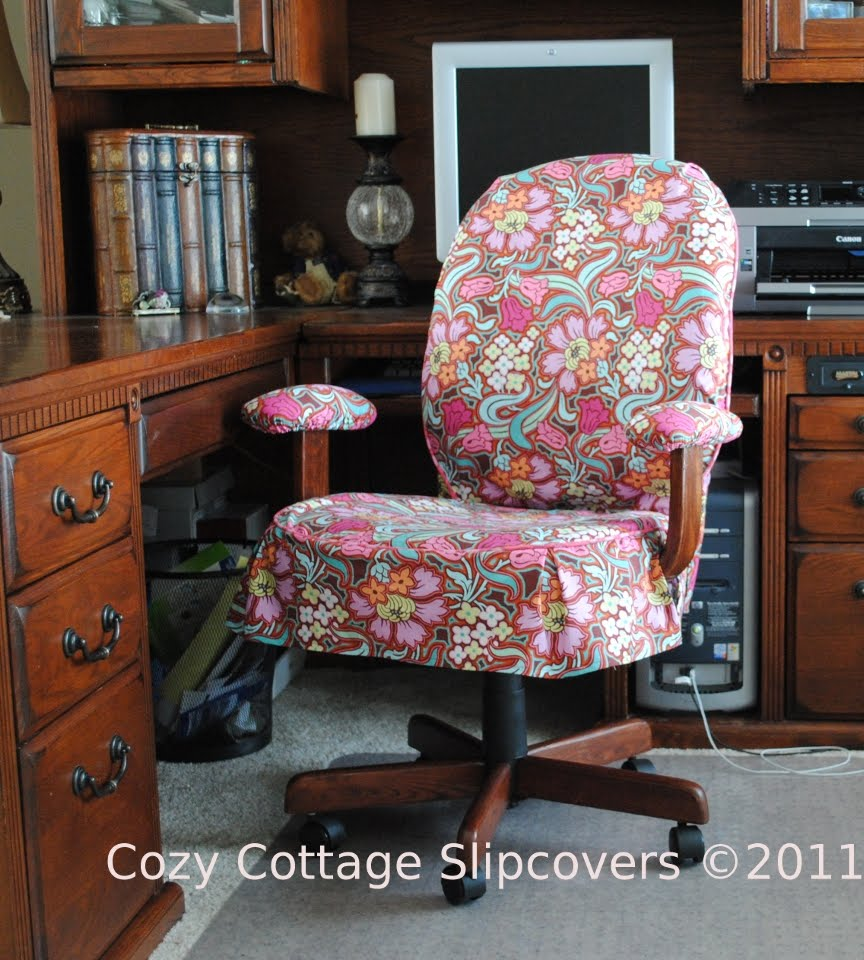 Cozy cottage slipcovers disco flower office chair