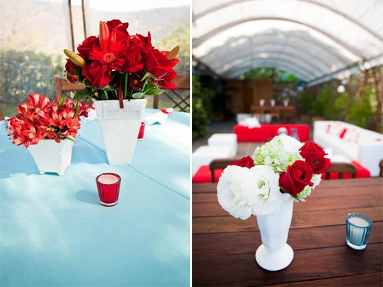 Casada e Apaixonada Decoração Azul e Vermelho