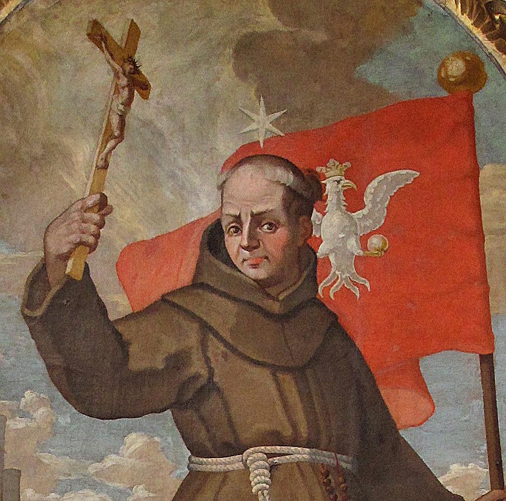 São João de Capistrano na batalha de Belgrado (detalhe). Igreja dos Bernardinos, Cracóvia.