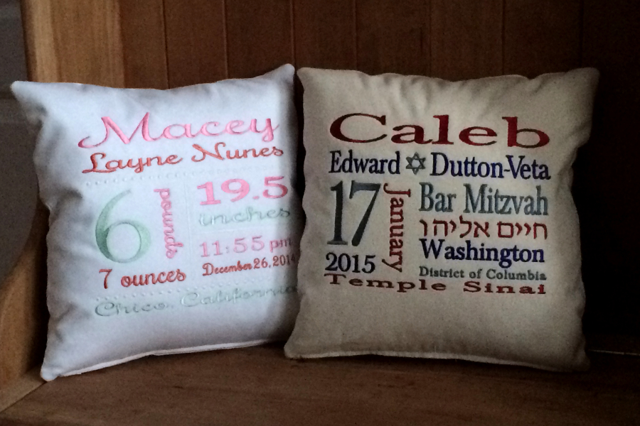 Birth Announcement Subway Art Baby Gift | Bar Mitzvah Gift Subway Art Pillow