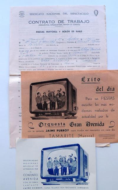 Binéfar 1965. Contrato y publicidad Orquesta Gran Avenida en Patronato Palermo