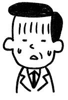 ■の表情のイラスト(困り)白黒線画