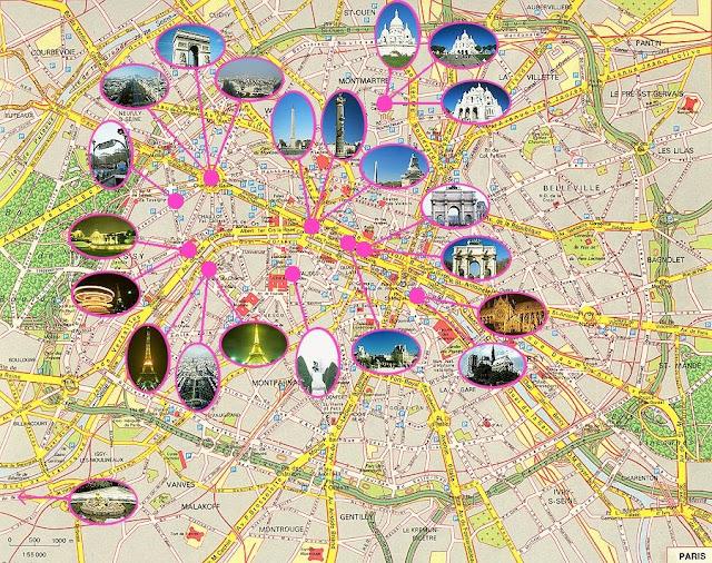 достопримечательности Парижа на карте