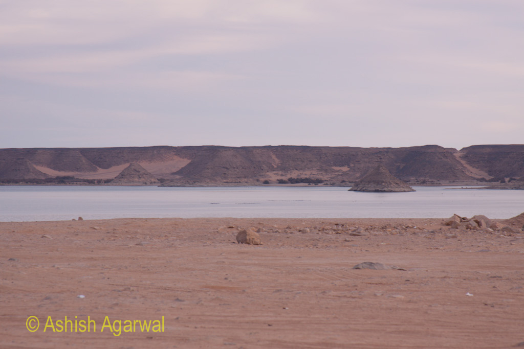 Narrow part of Lake Nasser near the Abu Simbel temple in South Egypt