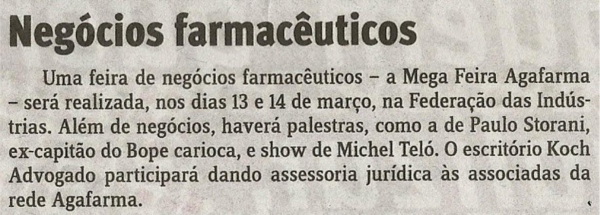 Negócios farmacêuticos – Danilo Ucha – Jornal do Comércio – 05.03.2015 – Koch Advogados
