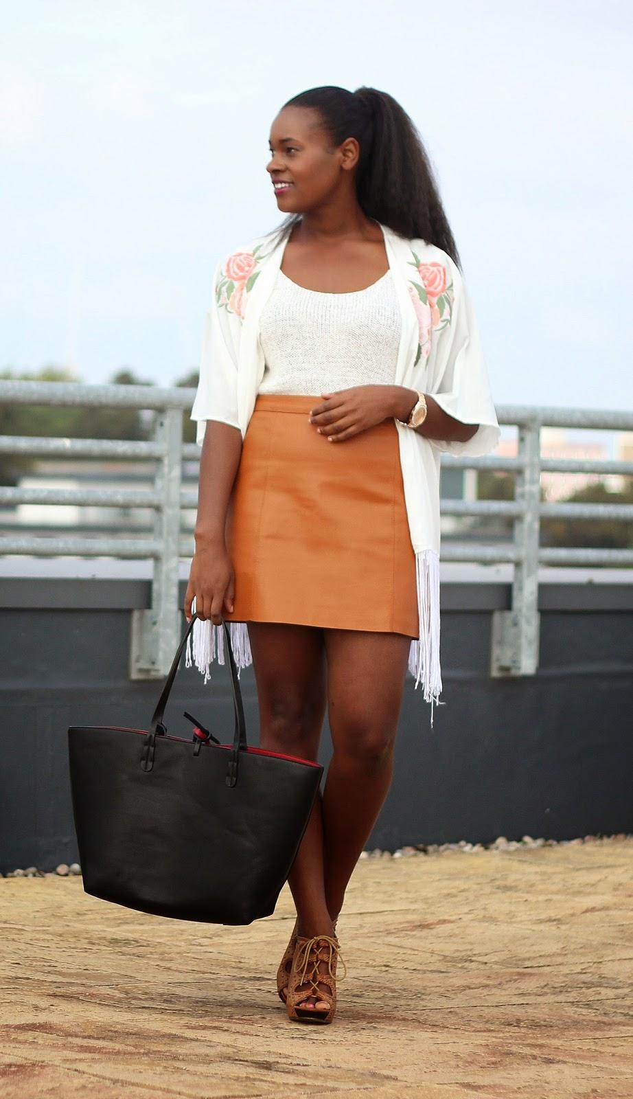 mintyessence ootd warehouse autumnal leather skirt