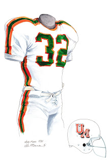 1970 University of Miami Hurricanes football uniform original art for sale