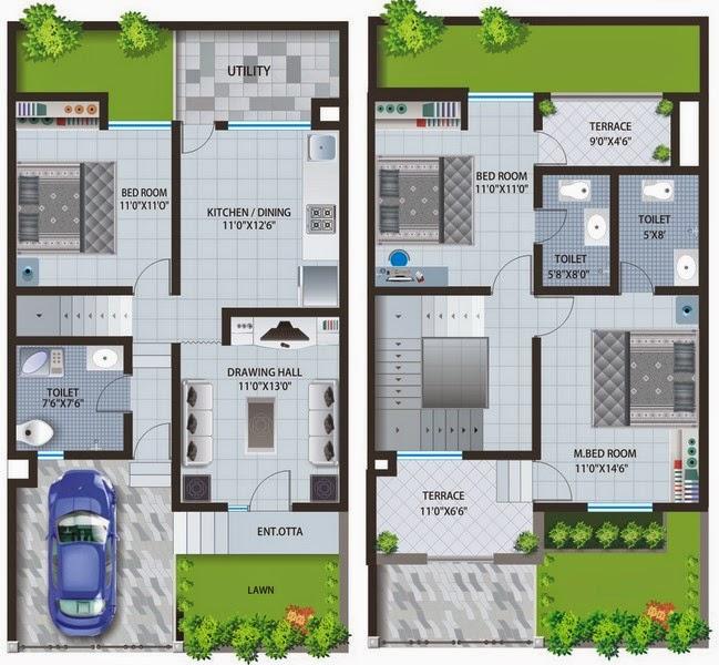 denah rumah minimalis modern sederhana 1 dan 2 lantai