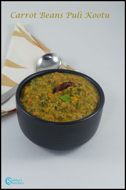 Carrot Beans Puli Kootu Recipe | Carrot Beans Tamarind based Stew