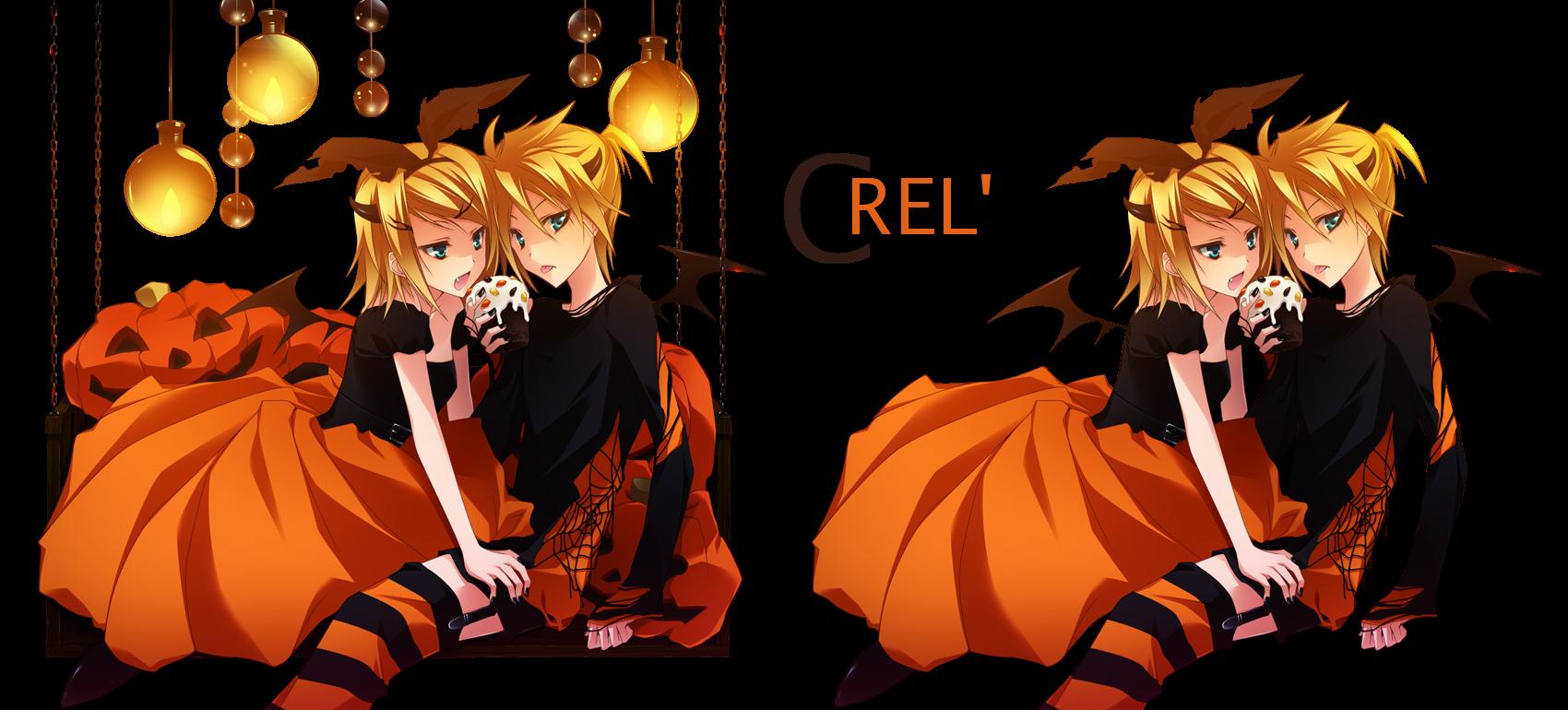 Render Rin y Len Kagamine Halloween