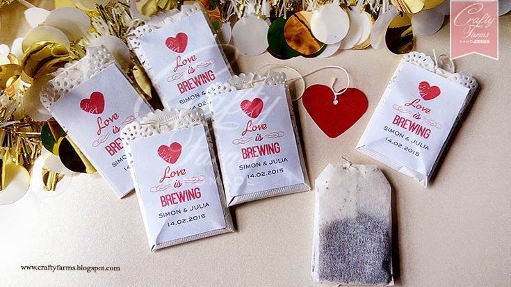 Love Is Brewing Tea Bag Wedding Favours