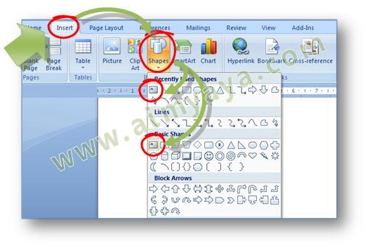 Gambar: Cara menyisipkan shape text box dalam dokumen Microsoft Word 2007