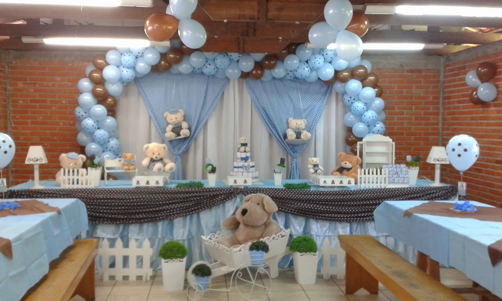 Chá de bebê ursos azul e marrom