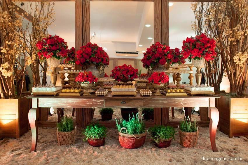 Minha casa, minha VIDA! Decoraç u00e3o de casamento vermelho e dourado # Decoração Para Casamento Vermelho Branco E Dourado