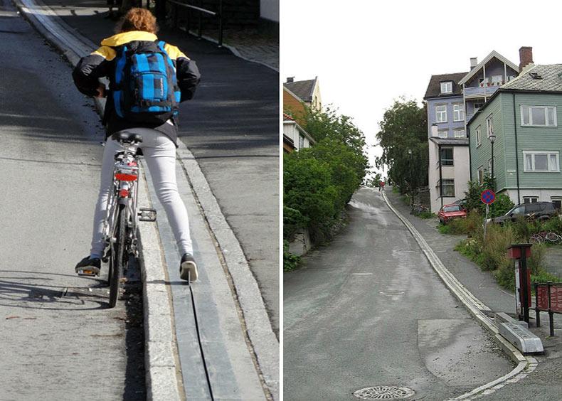 Noruega tiene la primera escalera para bicicleta del mundo