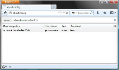 отключение IPv6 в Firefox