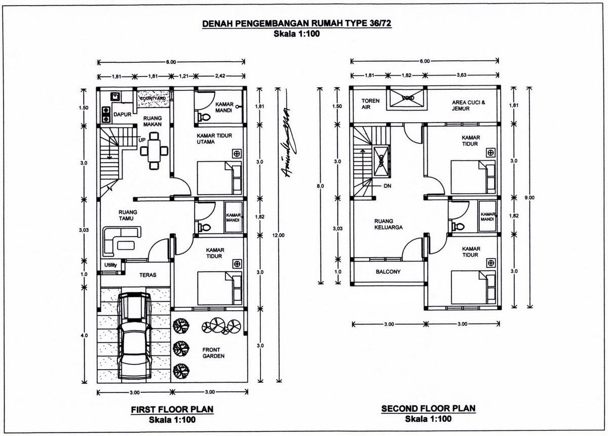 9 Sketsa Denah Rumah Modern Minimalis Type 36 Dengan 2 Kamar Tidur