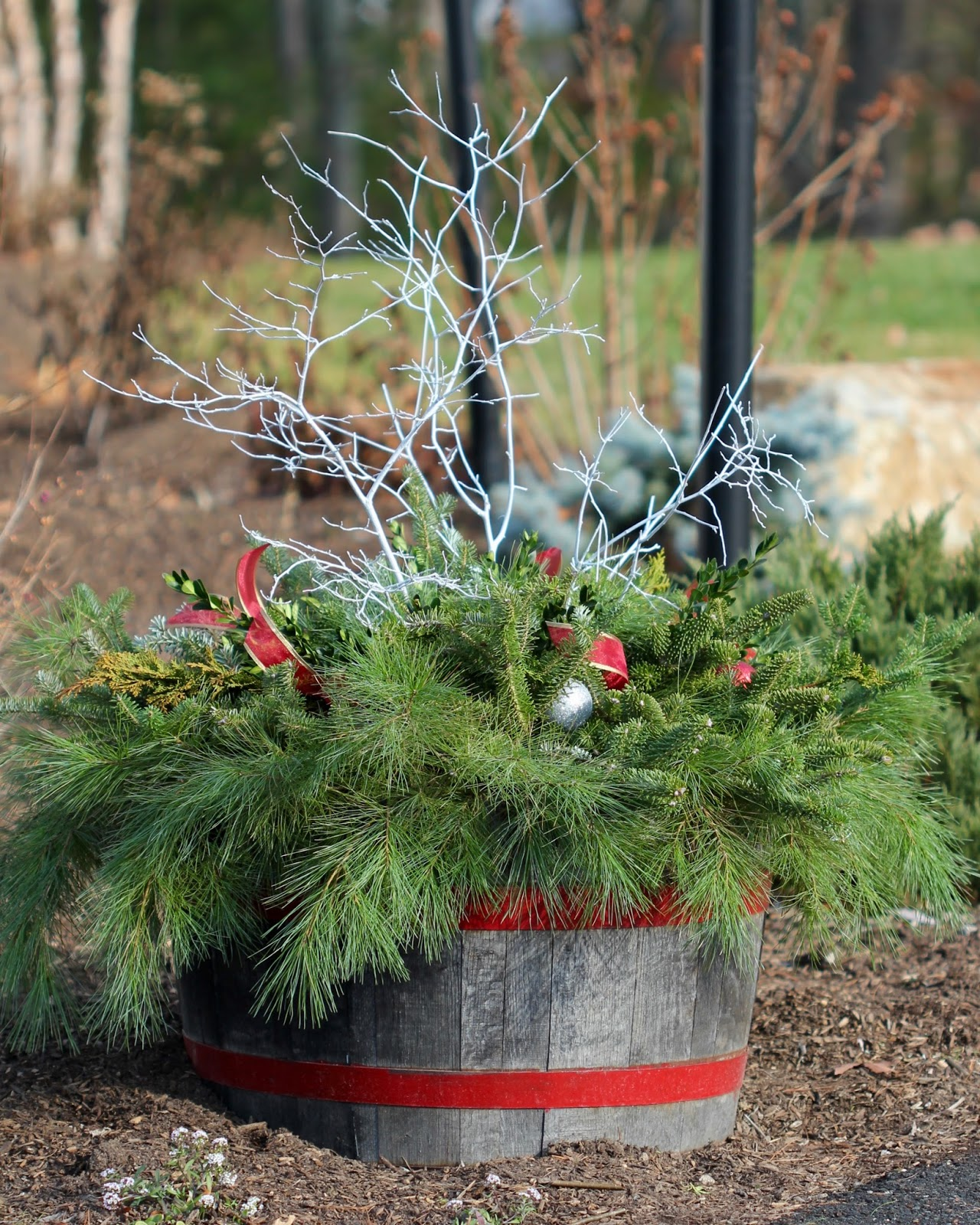 red house garden diy outdoor winter containers