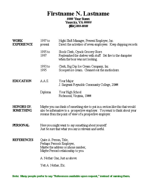 Basic Job Resume Template. sample easy resume resume cv cover ...