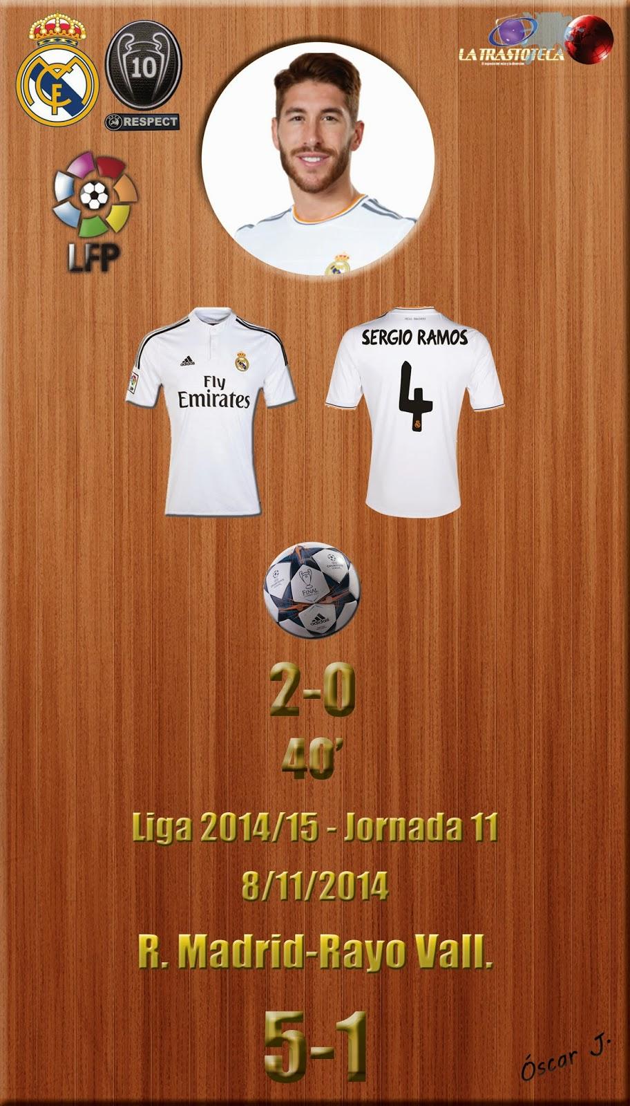 Sergio Ramos - (2-0) - Real Madrid 5-1 Rayo - Liga 2014/15 - Jornada 11 - (8/11/2014)
