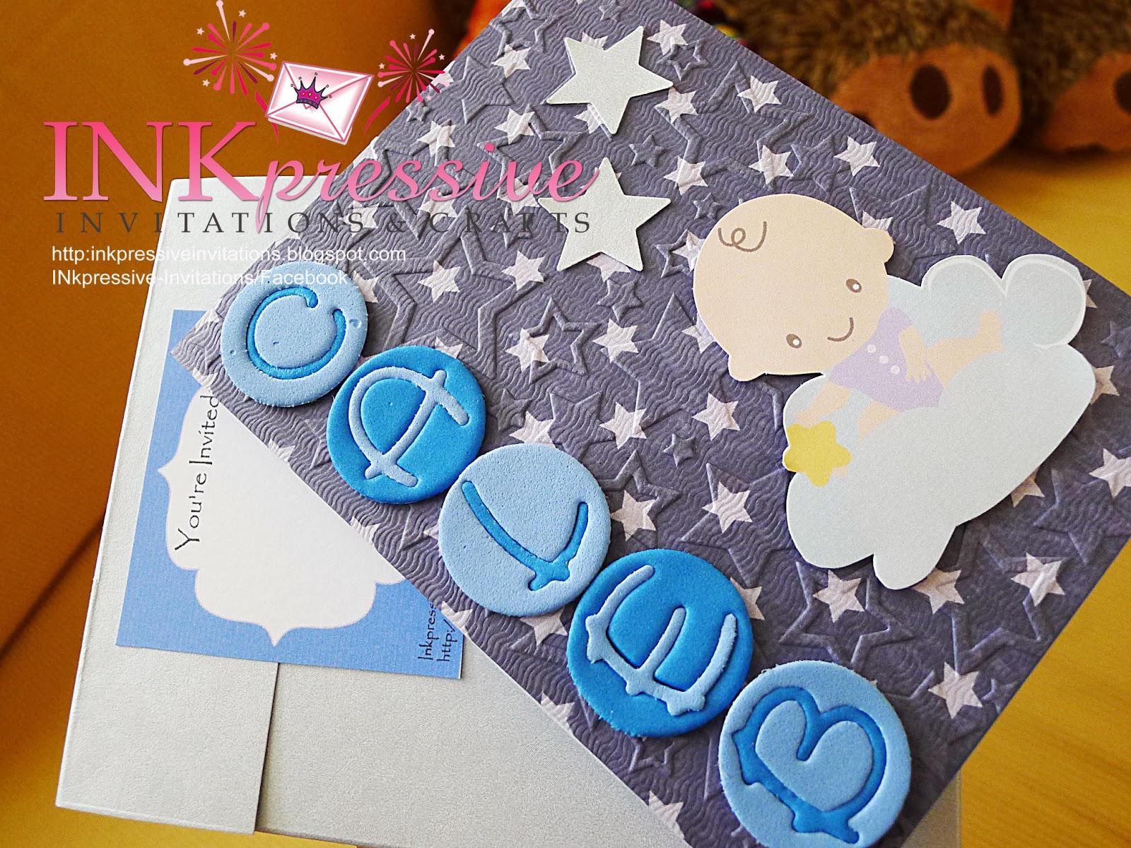 Embossed Background, Die Cut Alphabets, Die Cut Baby Image And Stars
