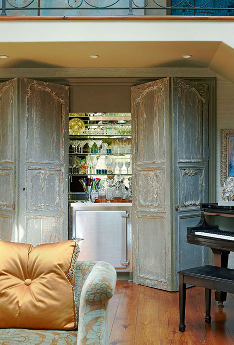 I absolutely love the raised French detailing and distressed look of these folding  doors. I'd love to rip out the new folding doors in my pantry and add ... - My Faux French Chateau: Antique French Doors And Shutters - Adding