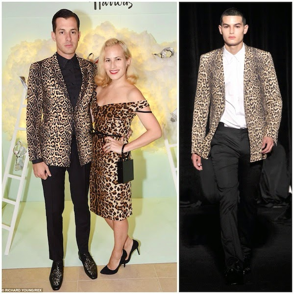 Mark Ronson leopard print jacket at Harrods Shoe Heaven Launch Party September 2014