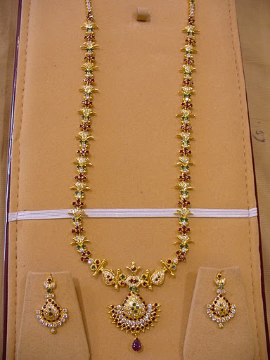 Gold And Diamond Jewellery Designs Gold Long Haaram With