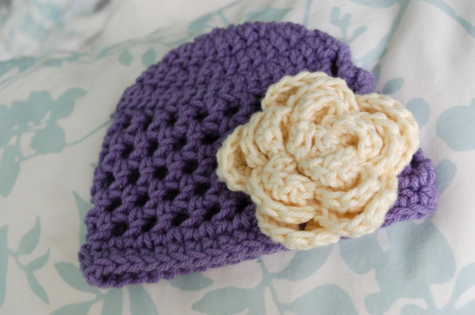 Crochet Rose Pattern No Sew : Alli Crafts: Free Pattern: Open Stitch Hat - Newborn